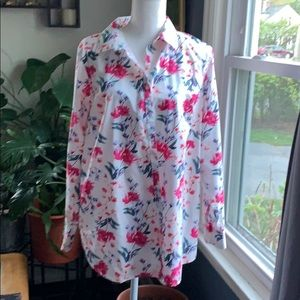 Land's End Floral Long Sleeve Blouse
